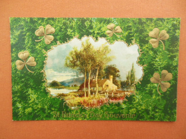 Image for St. Patrick's Day Souvenir Postcard Shamrocks Thatched Roof Cottage by the Sea 1909