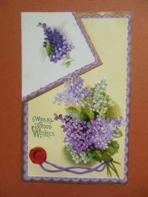 Image for With All Good Wishes Lilacs and Sealing Wax Vintage Postcard 1910