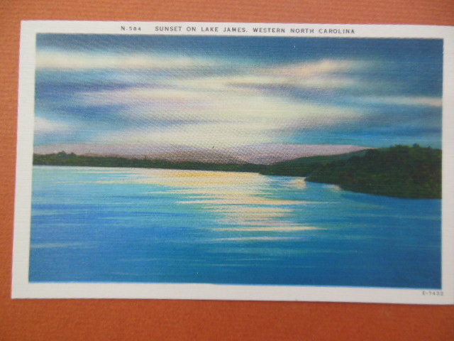 Image for Linen Postcard Sunset on Lake James, Western North Carolina (N. 584)