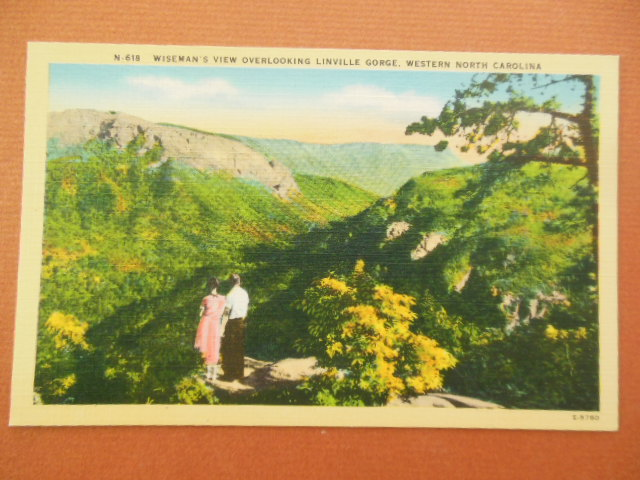 Image for Linen Postcard Wiseman's View Overlooking Linville Gorge, Western North Carolina N.618)