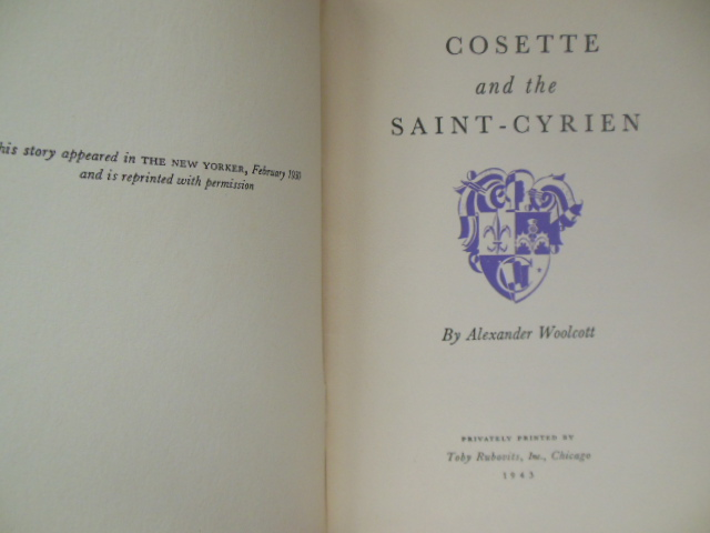 Image for Cosette and the Saint-Cyrien 1943 (Alexander Wolcott)