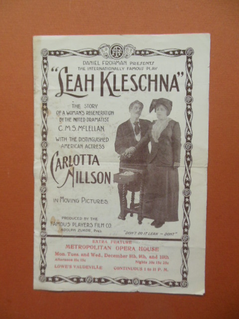 Image for Theater Brochure Carlotta Nillson in Leah Kleschna 1913