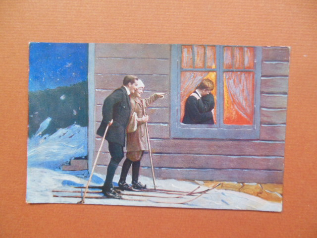 Image for Postcard Couple on Skis Spying Through A Window