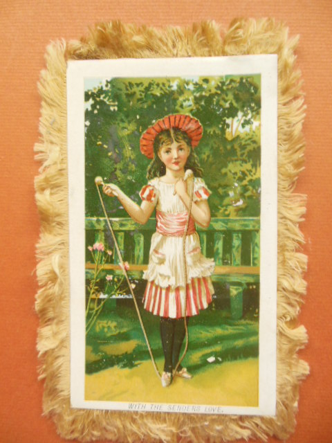 "Image for Silk Fringed Card ""With the Sender's Love"" Little Girl and Jump Rope"