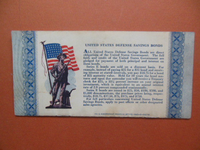 Image for 10 Cent Defense Stamp Album for the Purchase of United States Defense Savings Bonds WWII