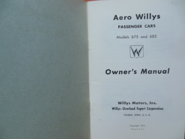 Image for Owner's Manual Aero Willys Passenger Cars Models 675 and 685 (1953)