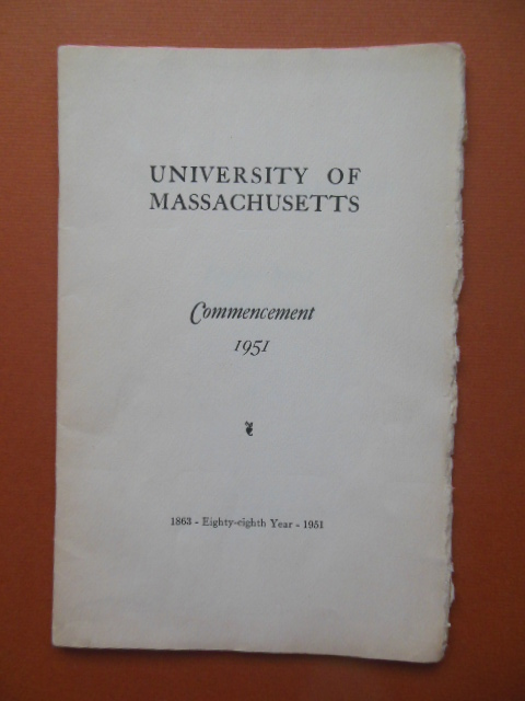 Image for University of Massachusetts Commencement Program, 1951 (General Andrew Iosue)