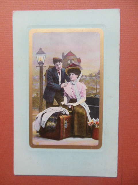 Image for Vintage Postcard Couple By Streetlamp with Luggage (Saxony 1910)
