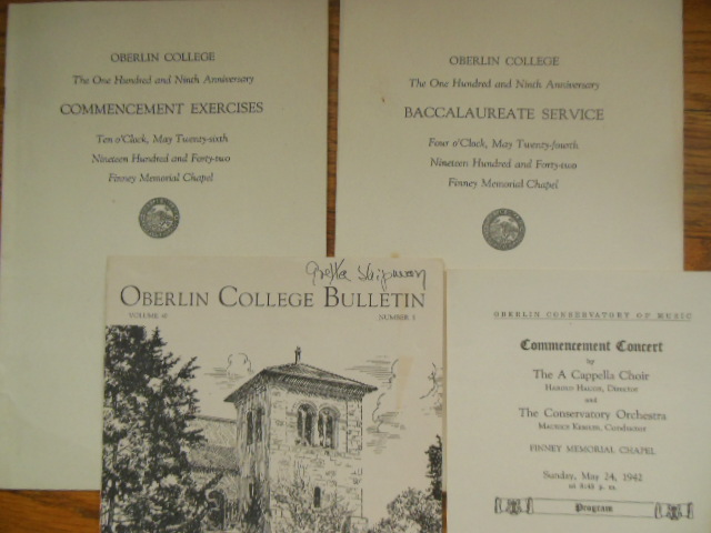Image for Oberlin College Baccalaureate & Commencement 1942 (4 items)