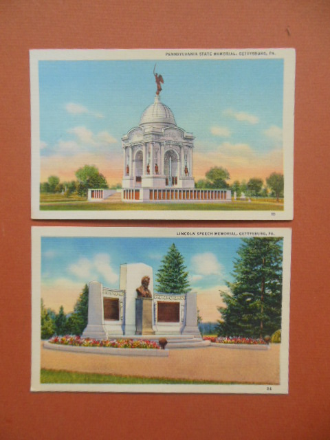 Image for Postcards Gettysburg Memorials: Lincoln Speech Memorial; Pennsylvania State Memorial