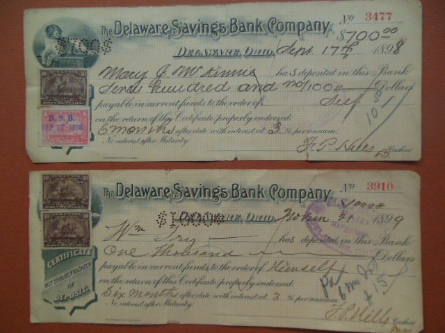 Image for Delaware Ohio Savings Bank 1898, 1899 Bank Certificates of Deposit for Investment