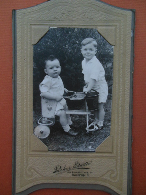 Image for Photograph Two Little Boys Wheeled Cart Sand Pail (Parker Studio,Canton,Ohio)