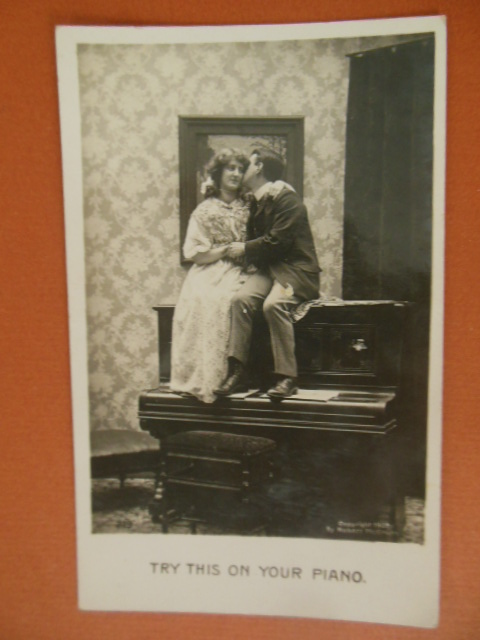 Image for Try This On Your Piano Couple Kissing on Top of Upright Piano 1907