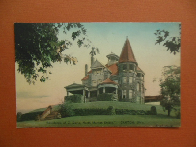 Image for Handcolored Postcard Residence of Z. Davis North Market Street Canton, Ohio