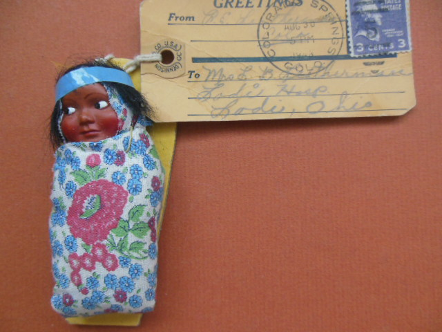 Image for Souvenir Indian Baby Doll Estes Park, Colorado 1940's (Hang Tag with Postage and Address)