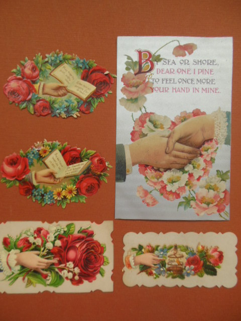 Image for Vintage Postcard, Calling Cards, Victorian die-cuts Hands and Flowers