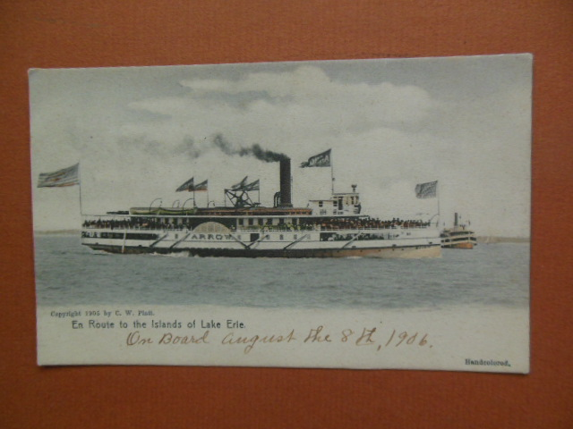 Image for The Arrow Boat En Route to Islands on Lake Erie (Hand Colored 1905)
