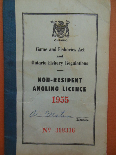 Image for Ontario Non-Resident Angling License 1955