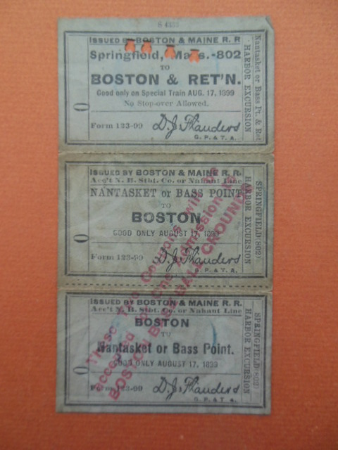 Image for Boston & Maine Railroad Tickets -- Special Train Only on August 17, 1893 Harbor Excursion