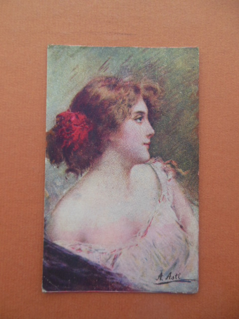 Image for Vintage Postcard Lady in Pink Red Feathers In Her Hair SIGNED A. Astt