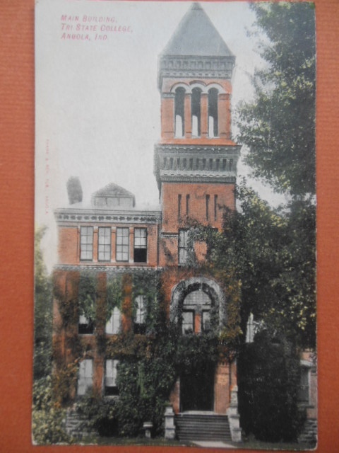 Image for Color Postcard Main Building Tri State College Angola, Indiana (1908)