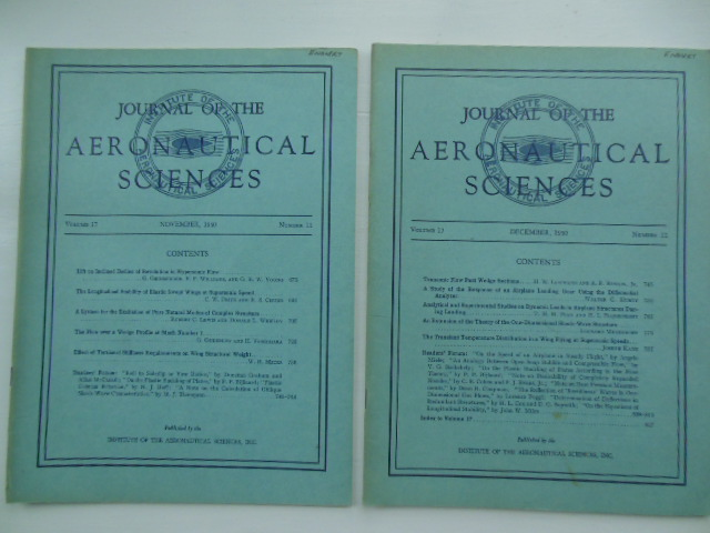 Image for Journal of the Aeronautical Sciences Nov. & Dec. 1950 (Two Issues)