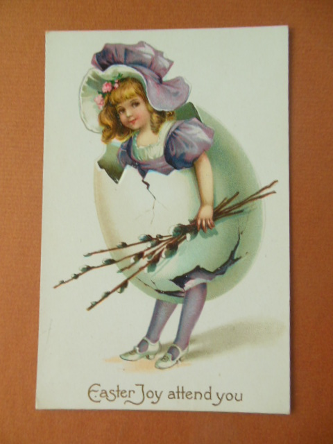 Image for Easter Joy Attend You; Little Girl Breaking out of Egg Holding Pussywillows (postcard)