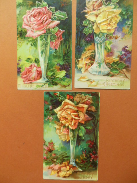 Image for Roses In Vases -- Three Vintage Birthday Postcards 1909