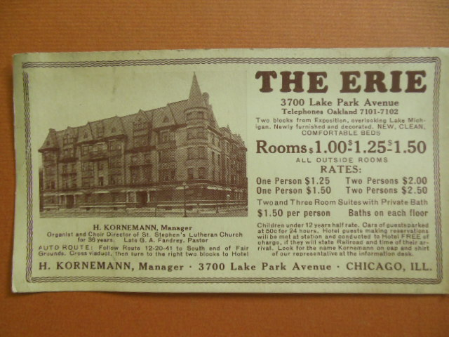 Image for Trade Card The Erie Hotel Chicago