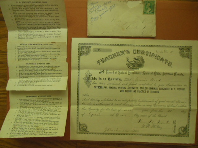Image for Teacher's Certificate Jefferson County Ohio, 1888 (Jennie Reed)Includes exam questions