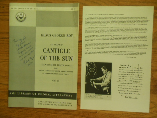 "Image for St. Francis' Canticle of the Sun ""Cantico Di Frate Sole"" For Small Chorus of Four Mixed Voices (A Capella) and Solo Viola OP. 17 (SIGNED by composer KLAUS GEORGE ROY 1953)"