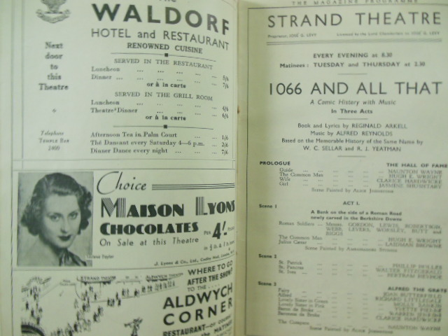 Image for Strand Theatre The Magazine Programme 1935 (1066 and All That)