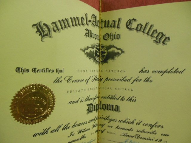 Image for Hammel Actual Business College Diploma 1967 (Akron, Ohio)