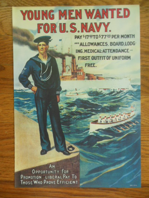 Image for Young Men Wanted for U.S. Navy Repro Poster RAD 73713 (Circa 1909)