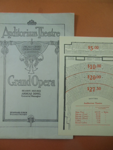 Image for Chicago Grand Opera Company Program Season 1912-1913 (Prices and seating chart laid-in)