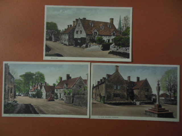 Image for Stanton, England 3 Postcards (The Cross and Church Entrance, Ye Olde Bakery, Street Scene)