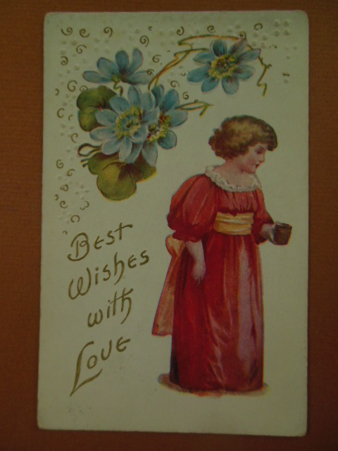 Image for Postcard Best Wishes with Love Little Girl In Pink with Blue Flowers (1909)