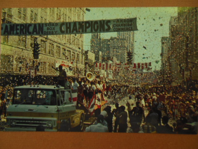Image for Color Postcard All-American Chevrolet Soap Box Derby Parade Confetti (1960's Akron, Ohio)