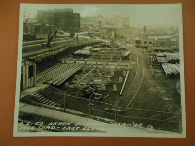 Image for Black & White Photograph Ohio Edison Company Akron Division Pole Yard (1948)
