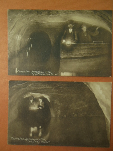 Image for Two Sepia Postcards Castleton Speedwell Mine (1920 England))