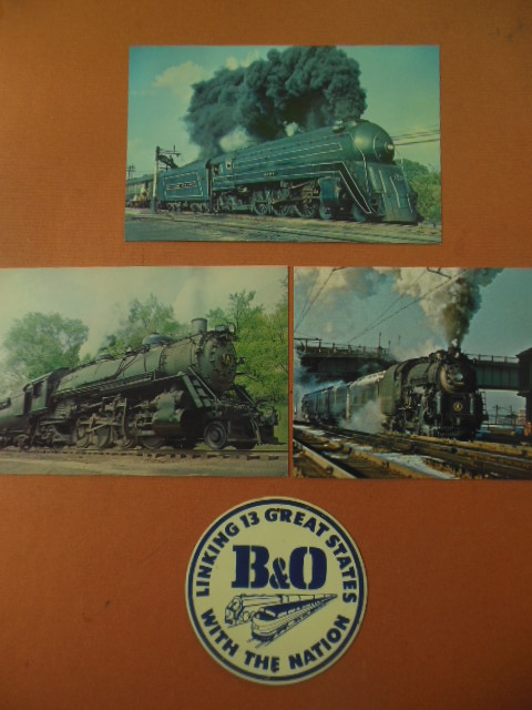 Image for B&O Railroad Miniature Metal Sign and Three B&O Color Postcards