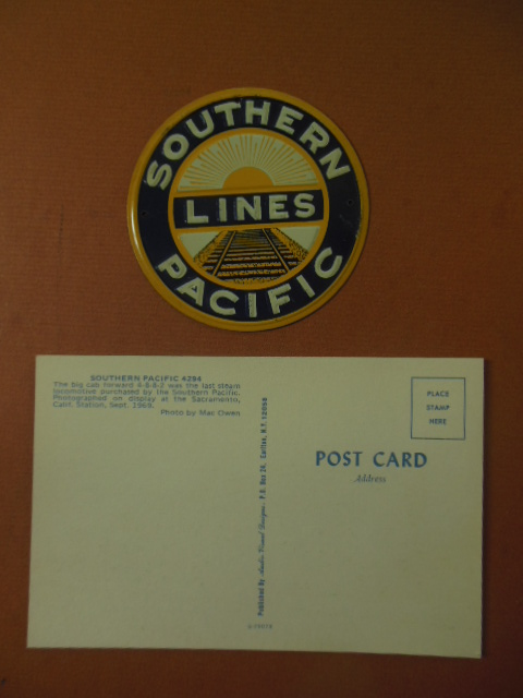Image for Southern Pacific Lines Metal Sign and Southern Pacific 4294 Postcard