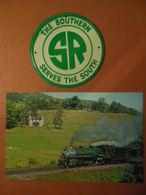Image for The Southern Railroad Miniature Metal Sign and Color Postcard Southern 4501