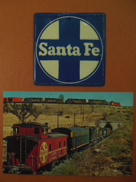Image for Santa Fe Railway Miniature Metal Sign and Santa Fe Railway Color Postcard