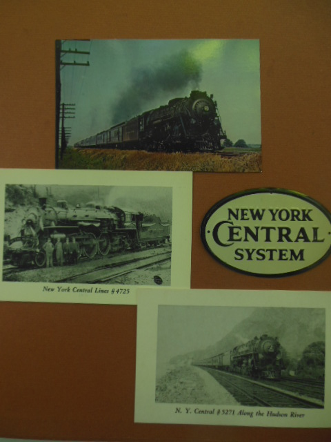 Image for New York Central System Railroad Miniature Metal Sign and Three New York Central Postcards