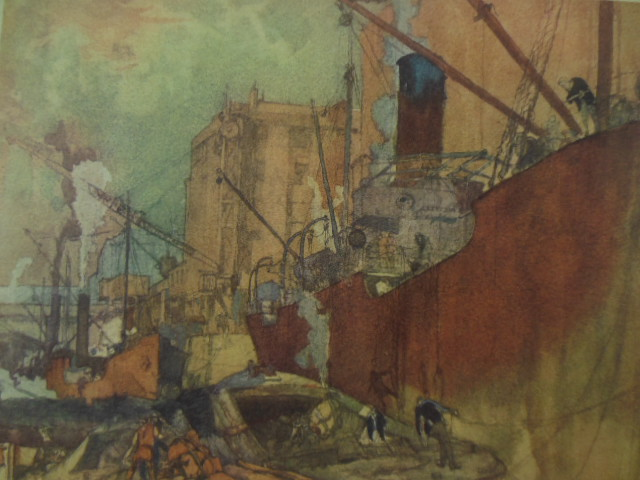 Image for Shipping Scene Frank Brangwyn Watercolor Print (1920's)