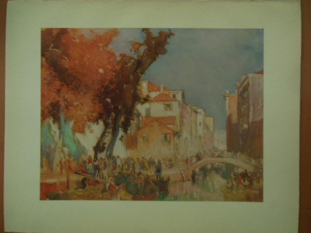 Image for Venice Scene Watercolor Print by Frank Brangwyn (1920's)