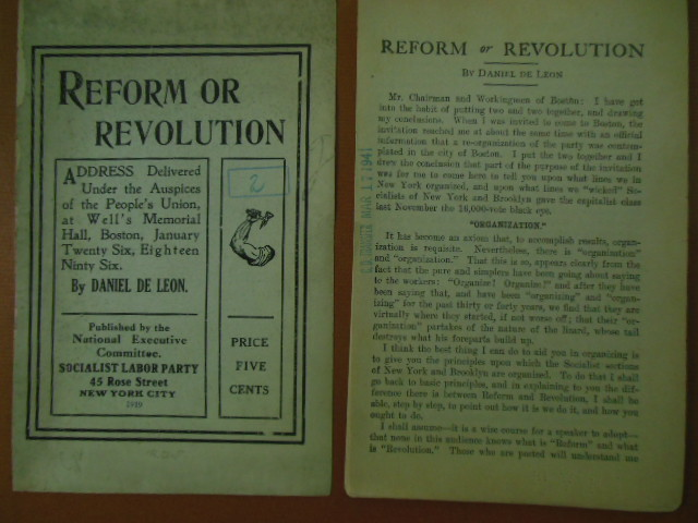 Image for Reform or Revolution (Daniel De Leon, Socialist Labor Party 1919)