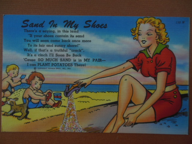 Image for Postcard Sand In My Shoes Florida Tichnor 110-N (1951)