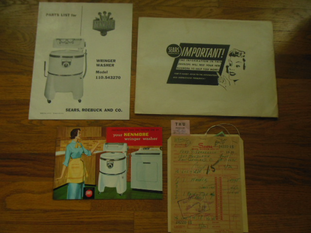 Image for Kenmore Wringer Washer 110.543270 Instruction Manual, Parts List, Bill of Sale, in Original Envelope 1954